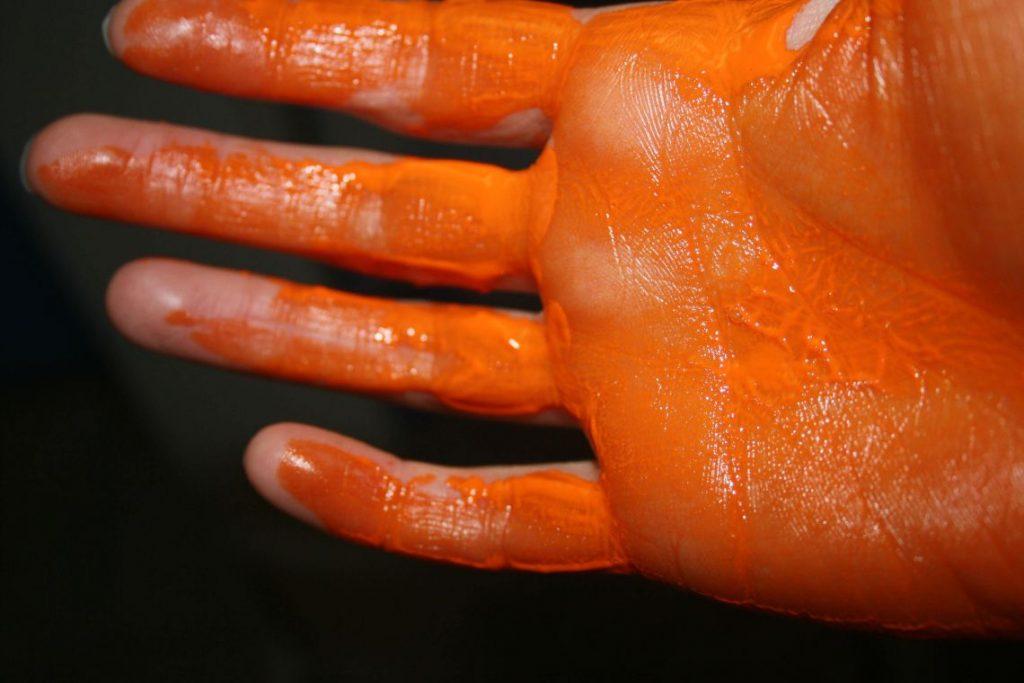 Orange Makers, painting, hand-logo
